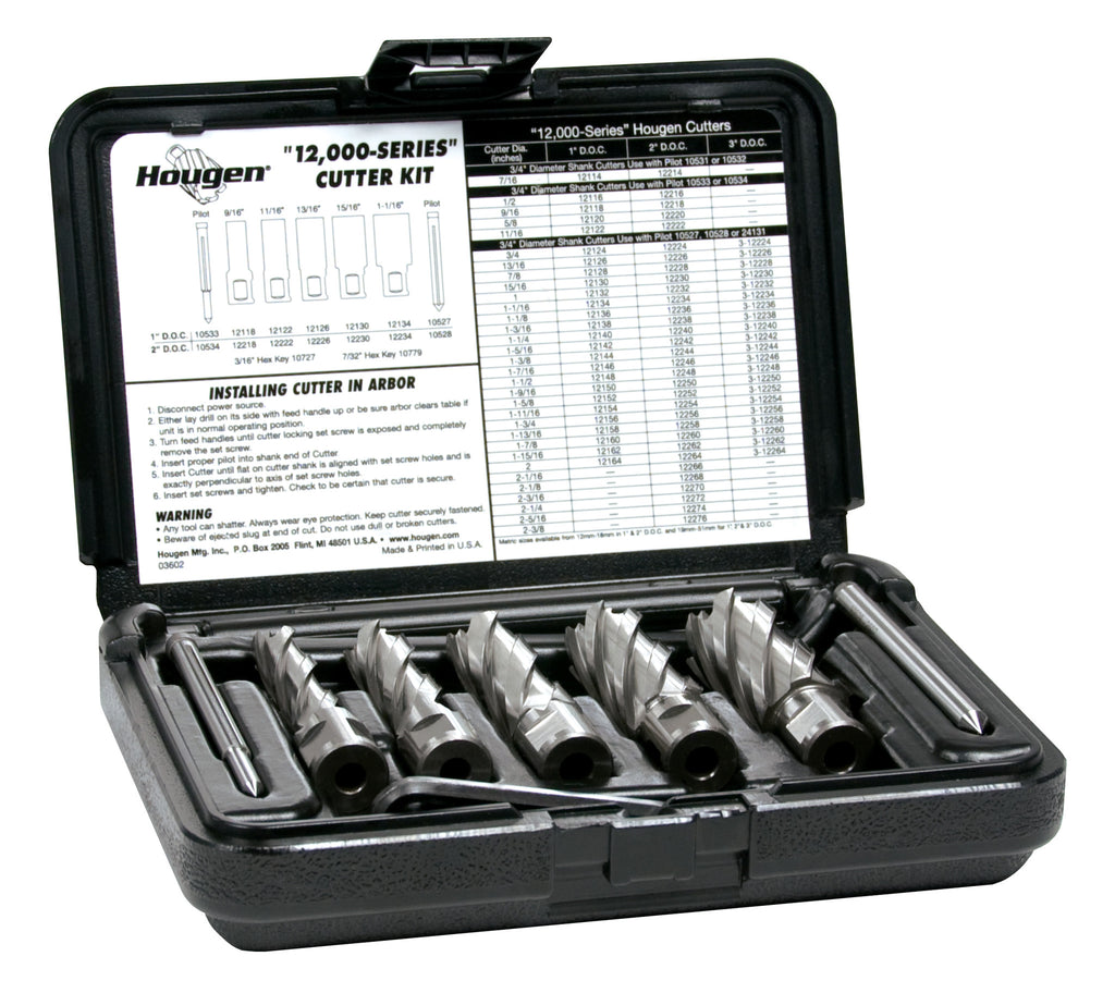 "Hougen 12002 9/16"", 11/16"", 13/16"", 15/16"", 1-1/16"" Rotabroach Cutters in a plastic case. Includes Hex Wrenches and 2 pilots 2"" Depth of Cut"