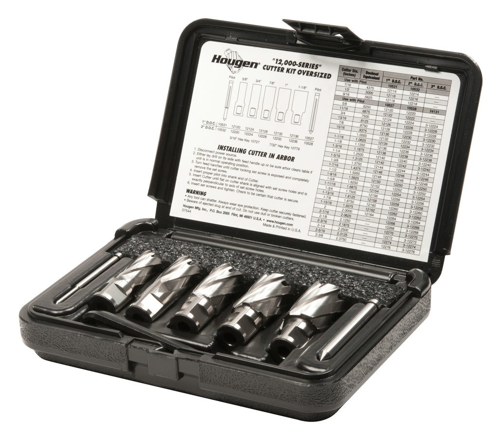 "Hougen 12005 5/8"", 3/4"", 7/8"", 1"", 1-1/8"" Rotabroach Cutters in a plastic case. Includes Hex Wrenches ans 2 pilots 1"" Depth of Cut"