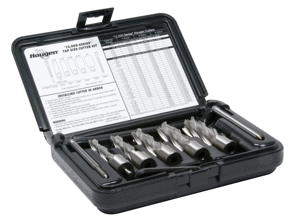 "Hougen 12007 7/16"", 17/32"", 21/32"" 25/32"", 7/8"" Rotabroach Cutters in a plastic case. Includes Hex Wrenches and 2 pilots. 2"" Depth of Cut"