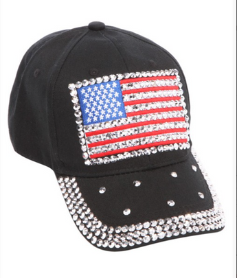 American Flag Hat - black