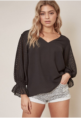 In Your Dreams Lace Sleeve Blouse