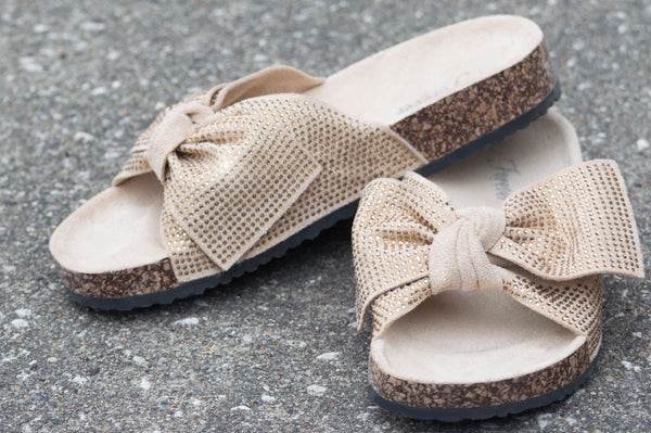 Slip on Sandals with Bow -beige