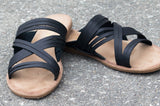 Strappy Slip On Sandals - black