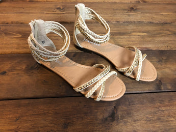 Braided ankle flat sandals