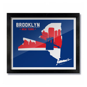 Brooklyn, New York Skyline Print: Red/Blue Baseball