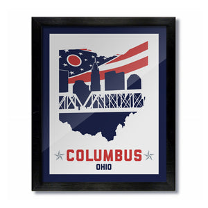 Columbus, Ohio Skyline Flag Print: Hockey White