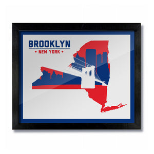 Brooklyn, New York Skyline Print: White/Red Baseball