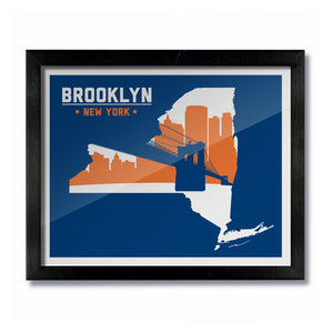 Brooklyn, New York Skyline Print: Blue/Orange Hockey