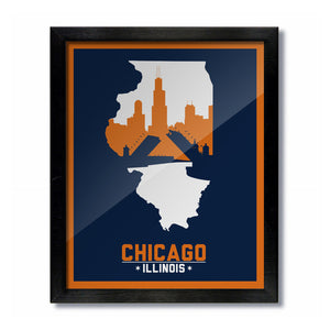 Chicago, Illinois Skyline Print: Blue/Orange Football