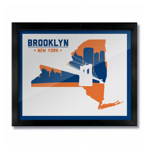 Brooklyn, New York Skyline Bridge Poster Print: Wall Art - White Blue/Orange Hockey