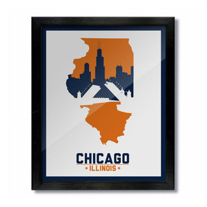 Chicago, Illinois Skyline Print: White/Orange Football