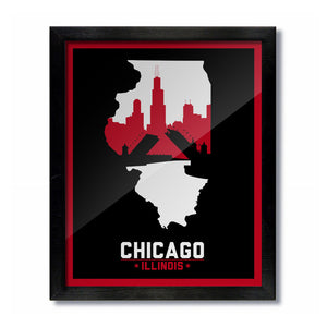 Chicago, Illinois Skyline Print: Black/Red Basketball