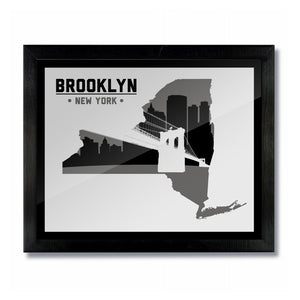 Brooklyn, New York Skyline Print: White/Black Basketball
