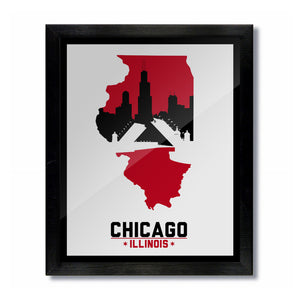 Chicago, Illinois Skyline Print: White/Red Basketball