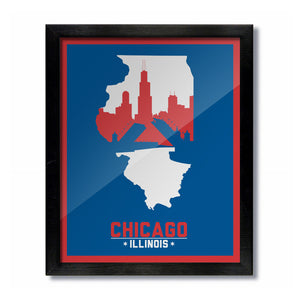 Chicago, Illinois Skyline Print: Blue/Red Baseball