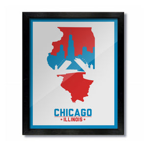 Chicago, Illinois Skyline Print: Chicago Flag