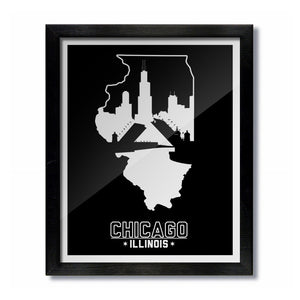 Chicago, Illinois Skyline Print: Black/White Baseball