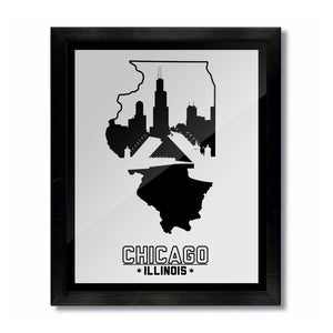 Chicago, Illinois Skyline Print: White/Black Baseball