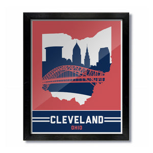 Cleveland, Ohio Skyline Print: Red/Blue Baseball