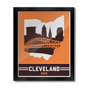 Cleveland, Ohio Skyline Print: Orange/Brown Football