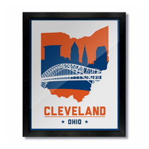 Cleveland, Ohio Skyline Print: White Basketball