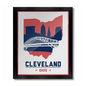 Cleveland, Ohio Skyline Print: White Baseball