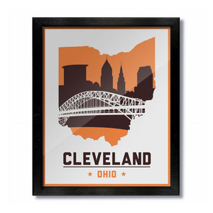Cleveland, Ohio Skyline Print: White/Brown