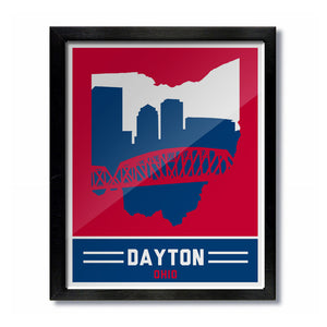 Dayton, Ohio Skyline Print: Red/Blue Basketball