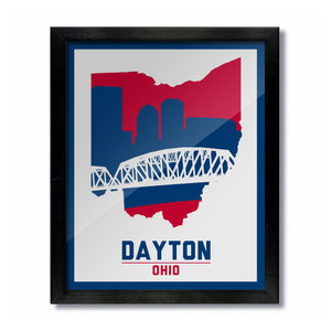 Dayton, Ohio Skyline Print: White Basketball
