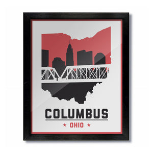 Columbus, Ohio Skyline Print: White Football