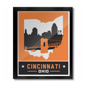 Cincinnati, Ohio Skyline Print: Orange/Black Football