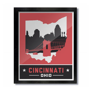 Cincinnati, Ohio Skyline Print: Red/Black Baseball Football