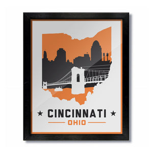 Cincinnati, Ohio Skyline Print: White Football