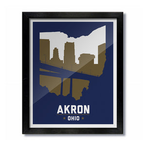 Akron, Ohio Skyline Print: Blue/Gold College