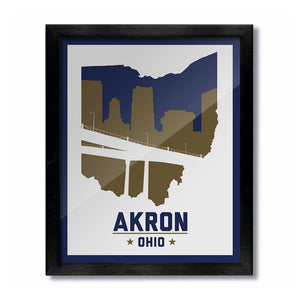 Akron, Ohio Skyline Print: White - Blue/Gold College