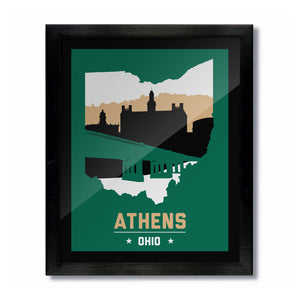 Athens, Ohio Skyline Print: Green/Gold College