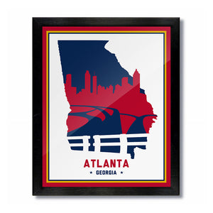 Atlanta, Georgia Skyline Print: White/Blue Baseball