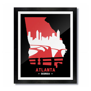 Atlanta, Georgia Skyline Print: Red/Black Basketball