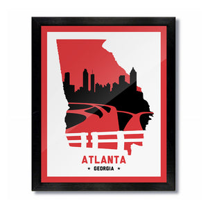 Atlanta, Georgia Skyline Print: White Red/Black Basketball