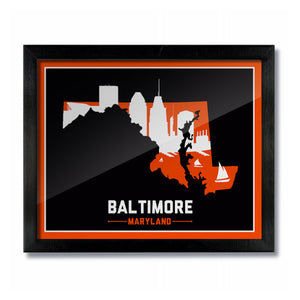 Baltimore, Maryland Skyline Print:  Black/Orange Baseball