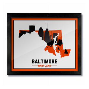 Baltimore, Maryland Skyline Print:  White/Orange Baseball