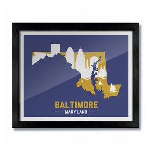 Baltimore, Maryland Skyline Print:  Purple/Gold Football