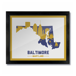 Baltimore, Maryland Skyline Print:  White Purple/Gold Football