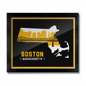 Boston Massachusetts Skyline Print: Black/Gold Hockey