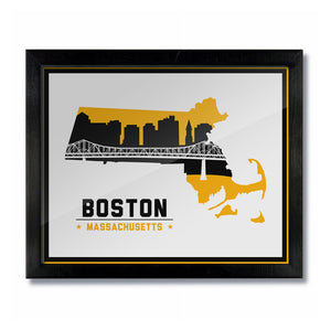 Boston Massachusetts Skyline Print: White/Gold Hockey