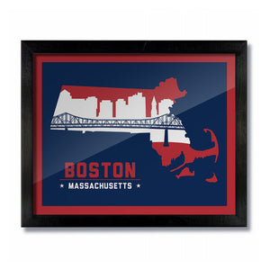 Boston Massachusetts Skyline Print: Blue Football/Baseball