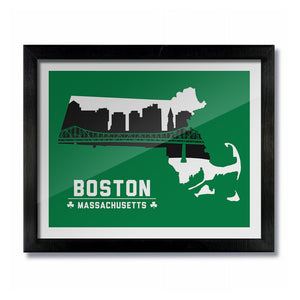 Boston Massachusetts Skyline Print: Green Basketball