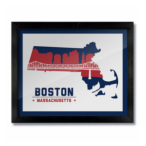 Boston Massachusetts Skyline Print: White Football/Baseball