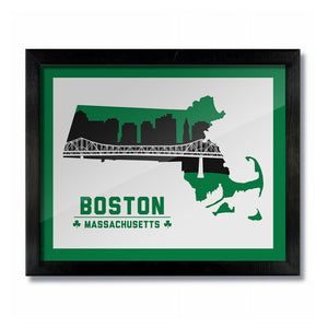 Boston Massachusetts Skyline Print: White Green Basketball
