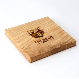 Cincinnati Ohio: Laser Etched Ash Wood Coasters